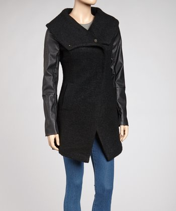 Black Wide Collar Jacket