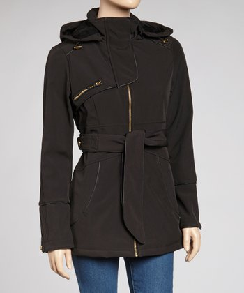 Black Belted Zipper Jacket - Women