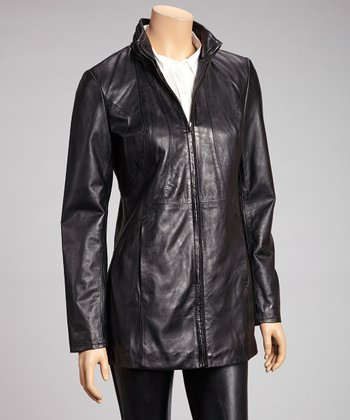 Black Leather Long Jacket - Women & Plus