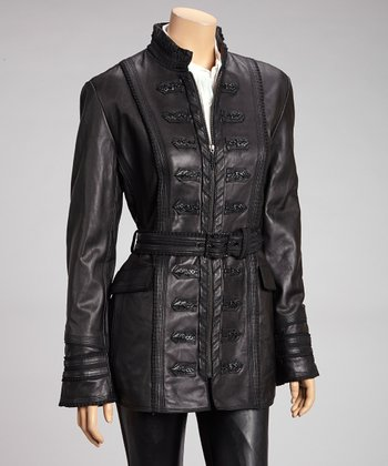 Black Belted Leather Jacket - Women