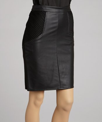 Black Ribbed Knit Faux Leather Pencil Skirt