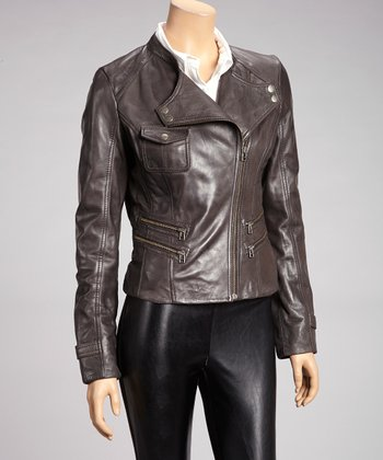 Charcoal Zipper Leather Moto Jacket