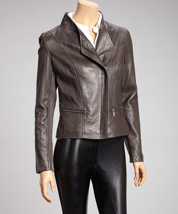 Charcoal Asymmetrical Zipper Leather Jacket - Women & Plus