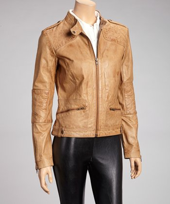 Whet blu Camel Quilted Leather Jacket