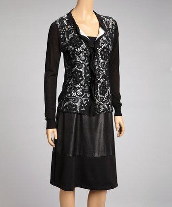 Nancy Yang Black & White Lace Cardigan