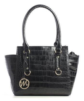 Black Leather Crocodile Kimberley Satchel