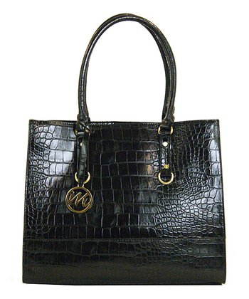 Black Leather Crocodile Kimberley Tote