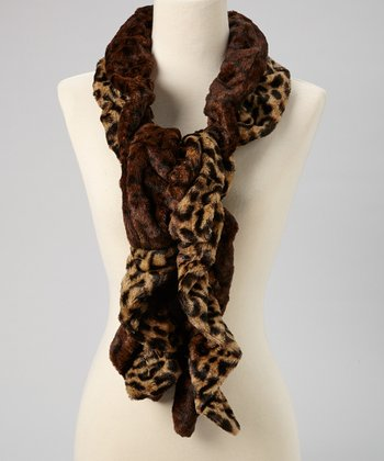 Brown Faux Fur Leopard Scarf