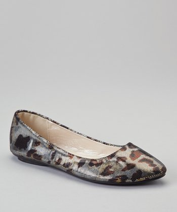Brown Leopard Metallic Ballet Flat