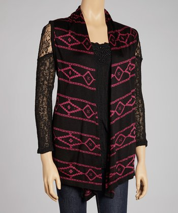 Black & Raspberry Stripe Open Cardigan
