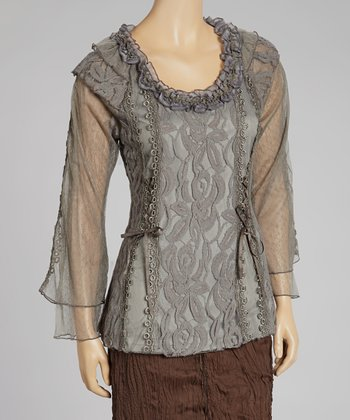 Gray Lace Linen-Blend Top
