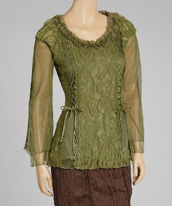 Green Lace Linen-Blend Top