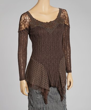 Coffee Lace Linen-Blend Sidetail Top