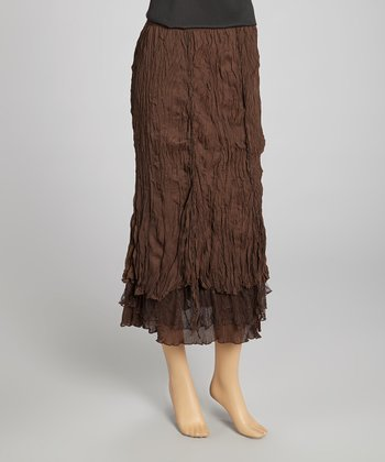 Coffee Pleated Silk-Blend Maxi Skirt