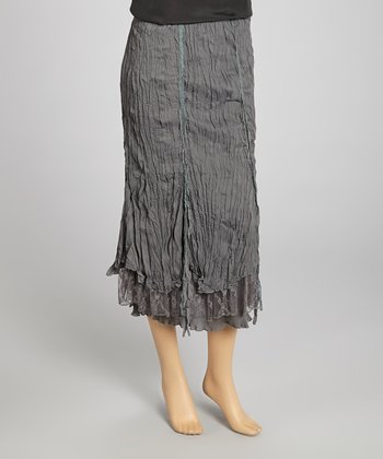 Gray Pleated Silk-Blend Maxi