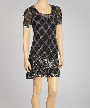 Black Lattice Tier Dress