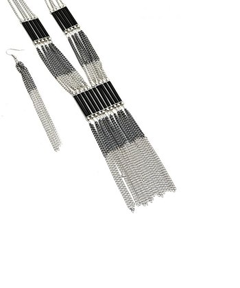 Black & Silver Chain Fringe Necklace & Earrings