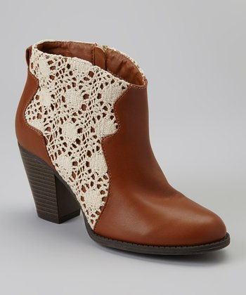 Cognac & White Crocheted Lace Ankle Boot