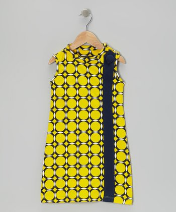 Yellow & Navy Makiko Sideline Dress - Toddler & Girls