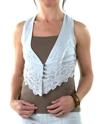 Stone Gray Ivanna Gilet Linen Cropped Vest - Women & Plus