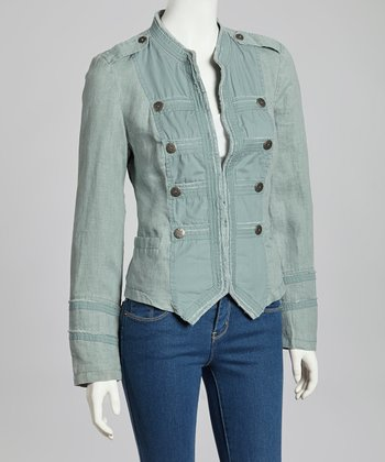 Dark Mint Imegan Linen Jacket - Women & Plus