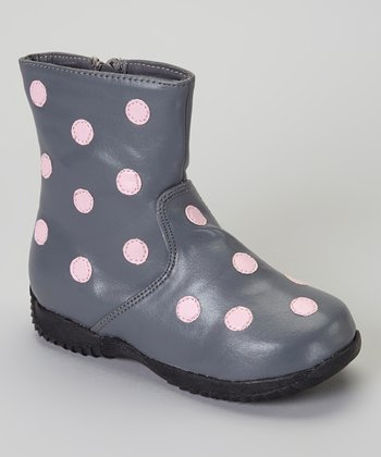 Gray & Pink Polka Dot Boot