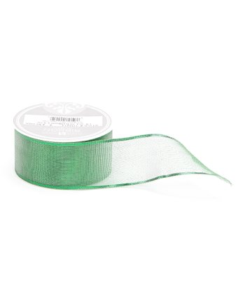 Green Sheer Metallic Ribbon Spool - Set of Three