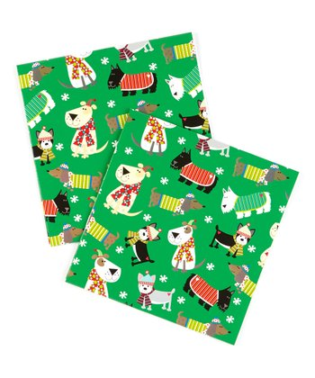 Christmas Dog Gift Wrap Sheet - Set of Six