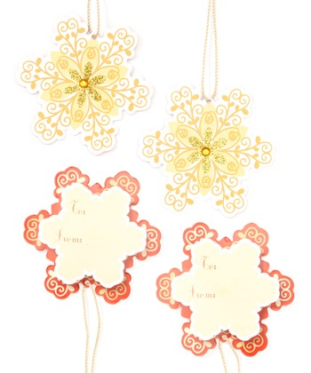 Snowflake Gold Gift Tag Set