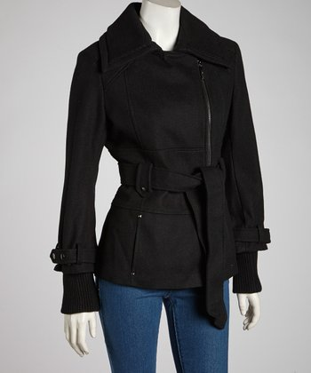 Black Belted Asymmetrical Melton Wool-Blend Jacket -