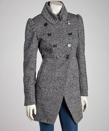 Blue Novelty Military Wool-Blend Jacket -