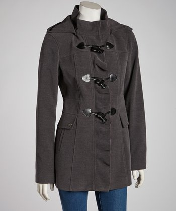 Charcoal Ruffle Toggle Jacket - Women