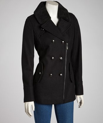 Black Zipper Wool-Blend Peacoat -