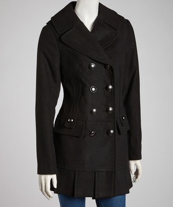 Black Pleated Peacoat