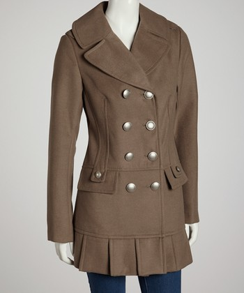 Oatmeal Pleated Peacoat