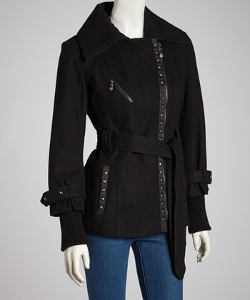 Black Belted Melton Wool-Blend Jacket