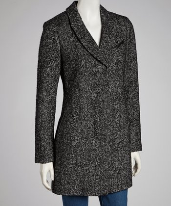 Black Novelty Pencil Wool-Blend Coat -
