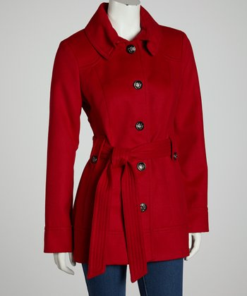 Red Plush Belted Coat