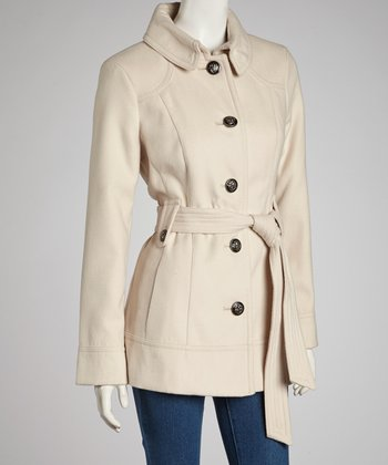 Vanilla Plush Belted Coat - Women