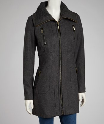 Charcoal Melton Wool-Blend Jacket - Women