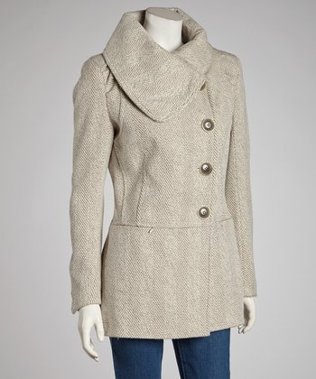 Oatmeal Asymmetrical Herringbone Coat - Women