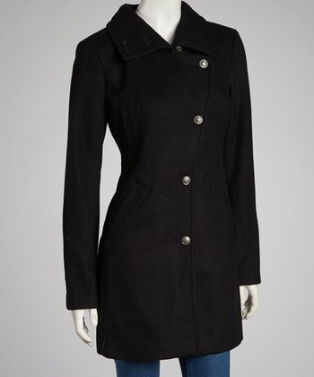 Black Asymmetrical Melton Wool-Blend Jacket - Women