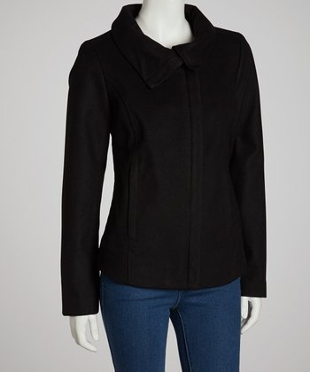 Black Plush Zip-Up Coat