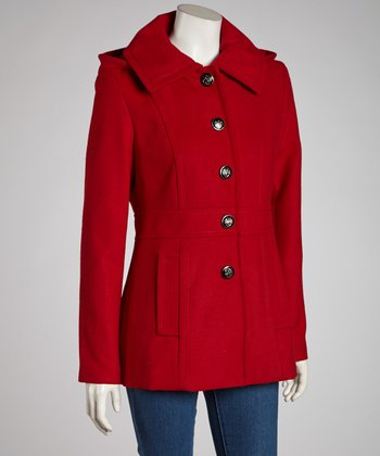 Red Removable Hood Jacket