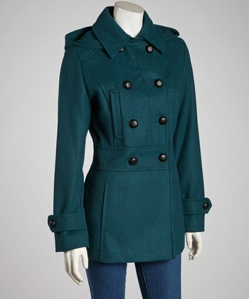 Teal Removable Hood Peacoat