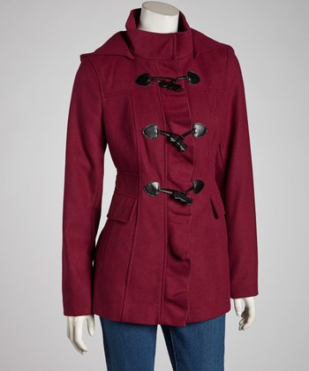 Magenta Ruffle Toggle Coat