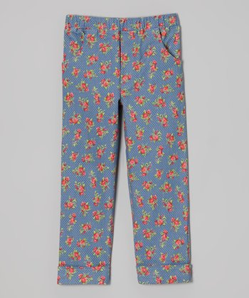 Blue Polka Dot Floral Jeans - Girls