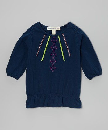 Navy Embroidered Tunic - Girls