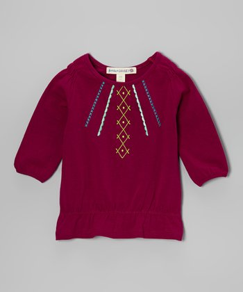 Fuchsia Embroidered Tunic - Girls