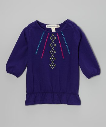 Purple Embroidered Tunic - Girls